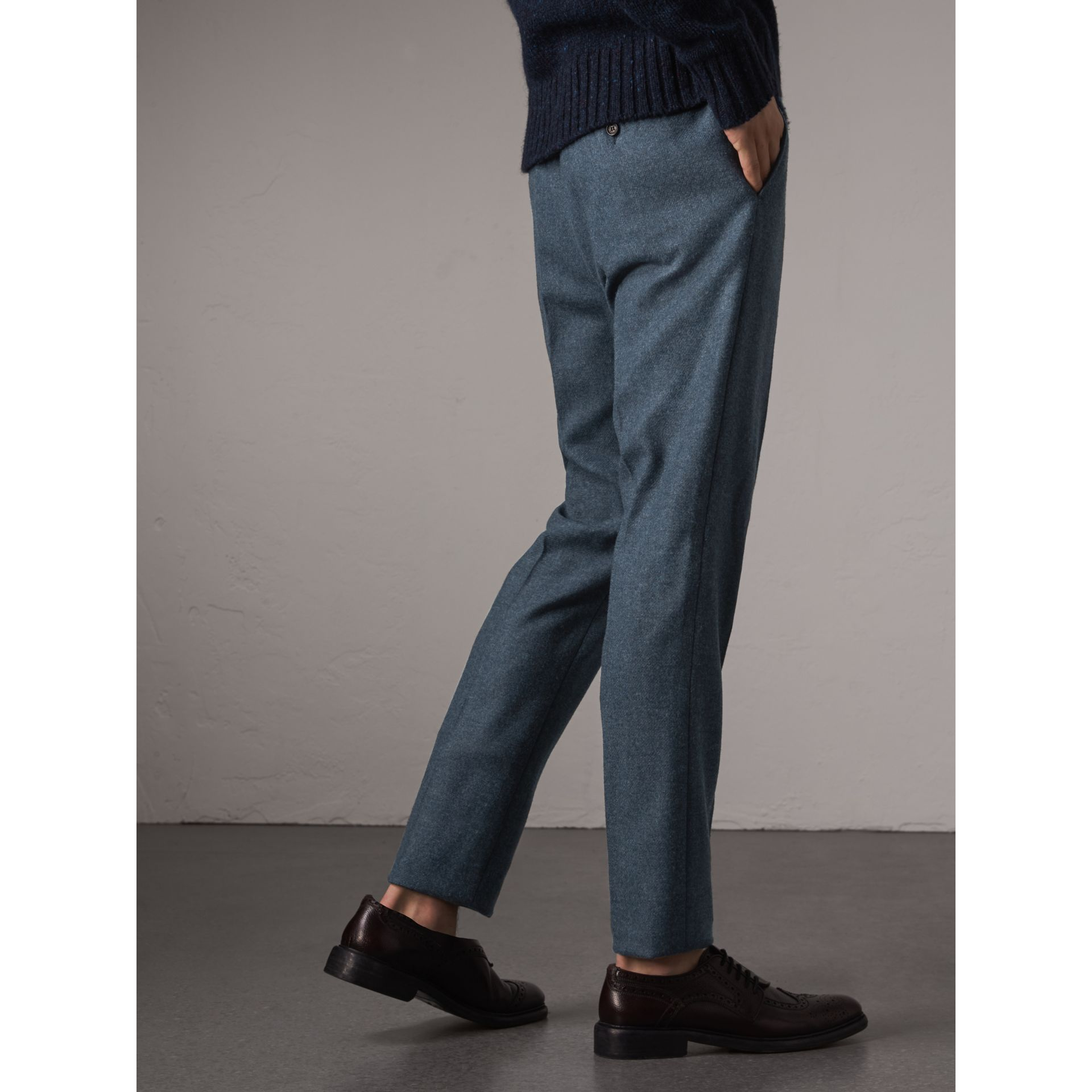 Soho Fit Wool Trousers in Dark Airforce Blue - Men | Burberry - gallery image 3