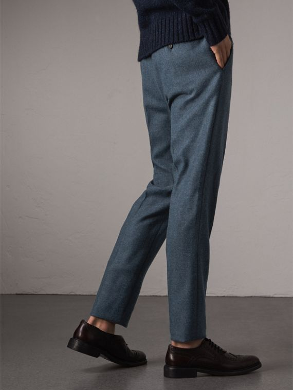 Soho Fit Wool Trousers in Dark Airforce Blue - Men | Burberry Australia - cell image 2