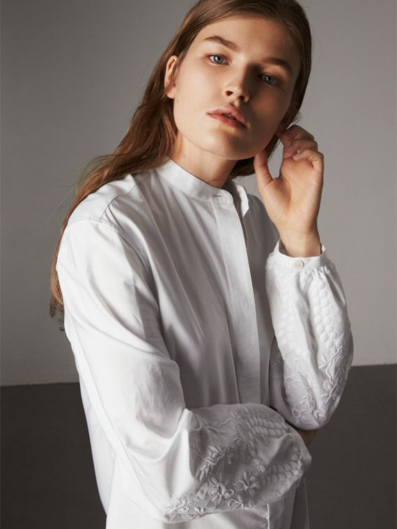 Embroidered Cotton Poplin Shirt Dress in White