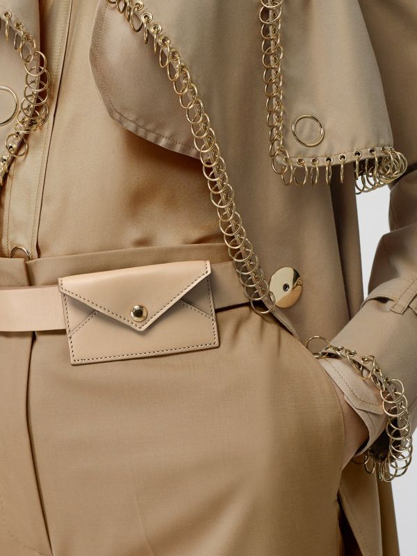 Envelope Detail Leather Belt in Latte - Women | Burberry United Kingdom - cell image 2