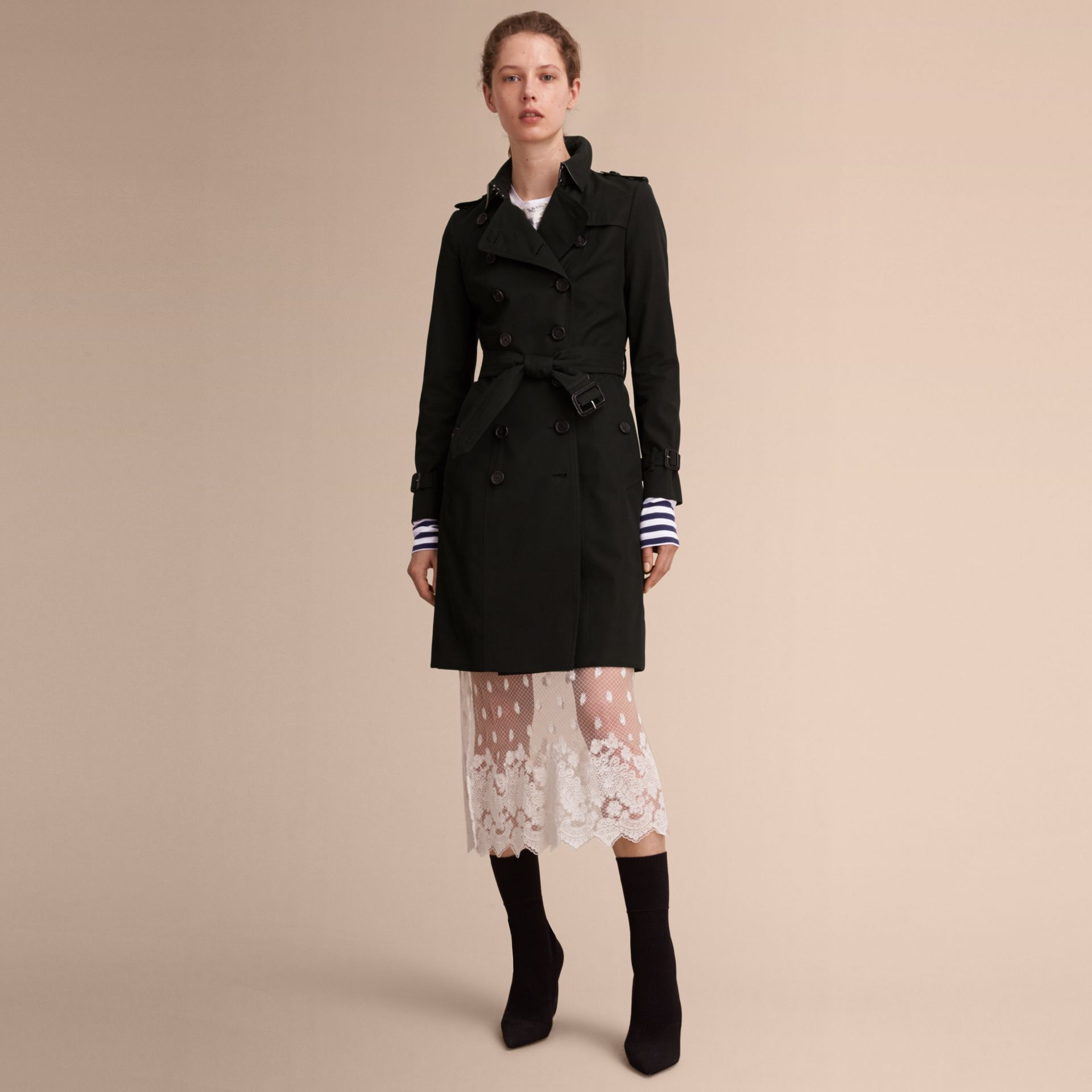 Black The Chelsea – Long Heritage Trench Coat Black - gallery image 8