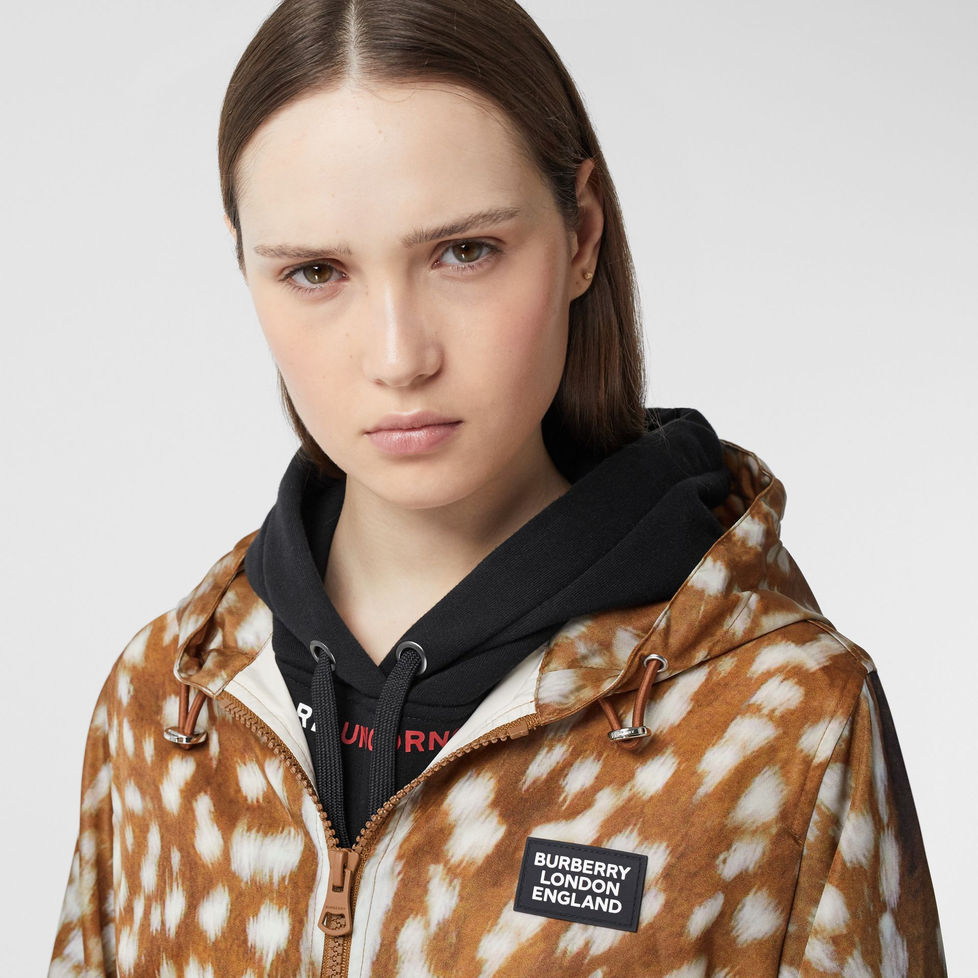 Deer Print ECONYL® Hooded Jacket in Honey - Women | Burberry Canada - gallery image 1