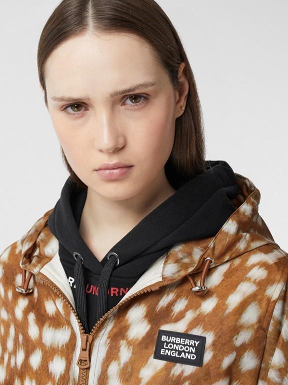 Deer Print ECONYL® Hooded Jacket in Honey - Women | Burberry Canada - cell image 1