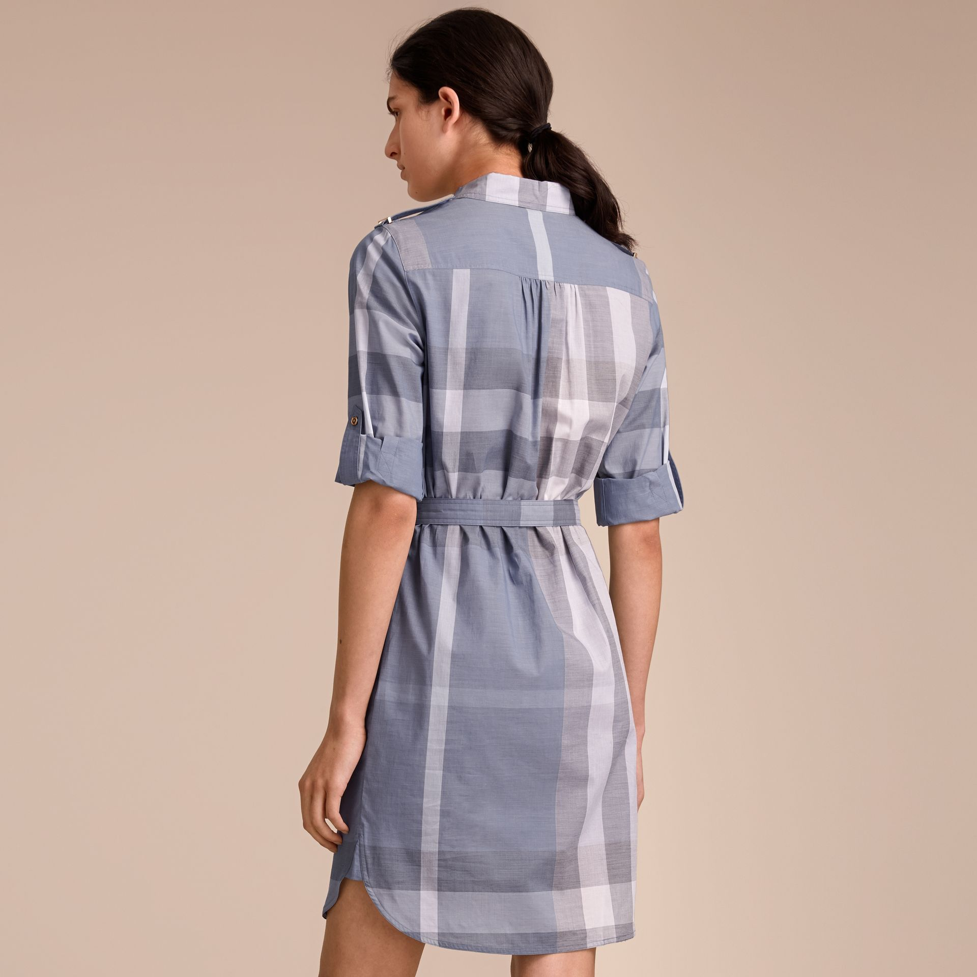 Tie-waist Check Cotton Shirt Dress - gallery image 3