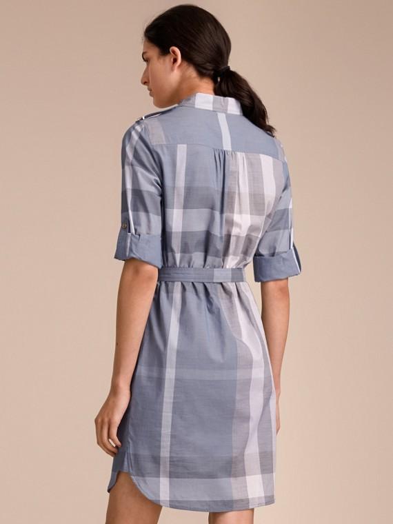 Tie-waist Check Cotton Shirt Dress - cell image 2