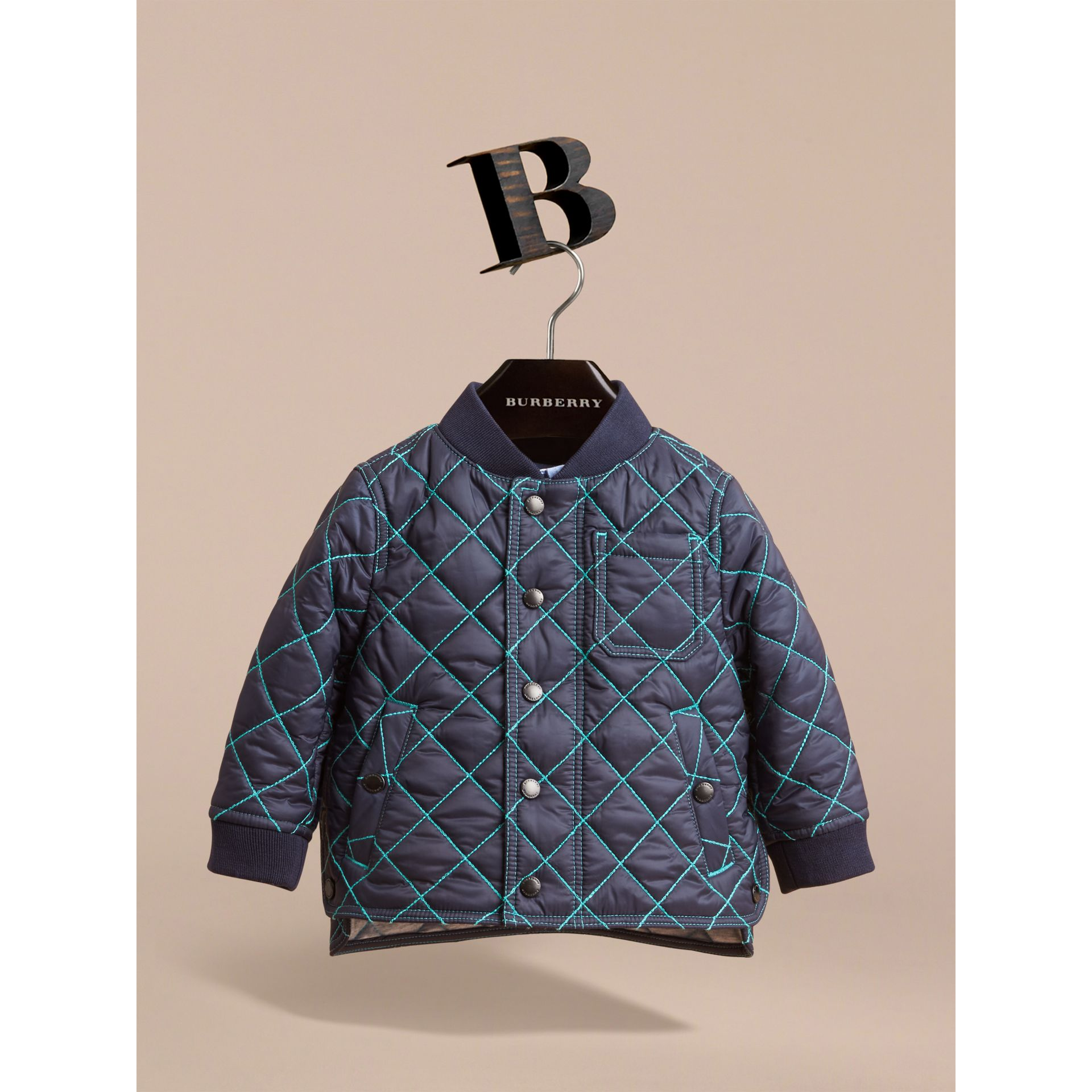 Topstitched Quilted Jacket in Navy | Burberry - gallery image 2