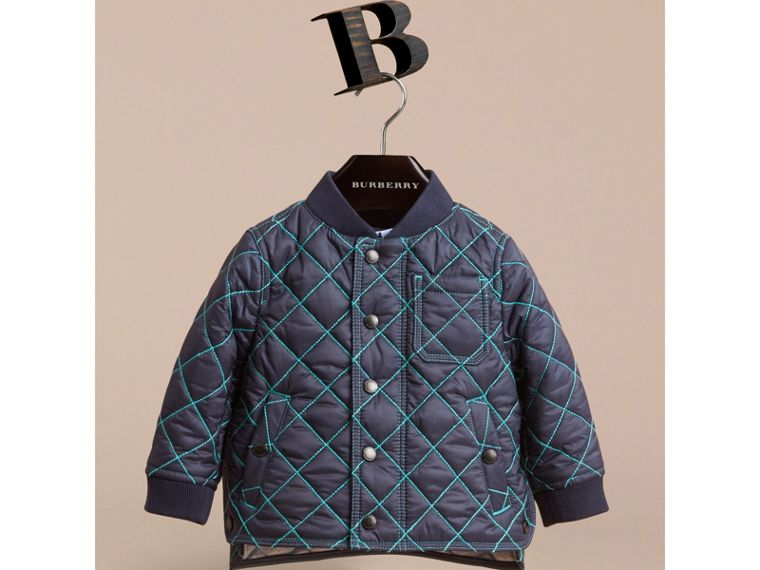 Topstitched Quilted Jacket in Navy | Burberry - cell image 1
