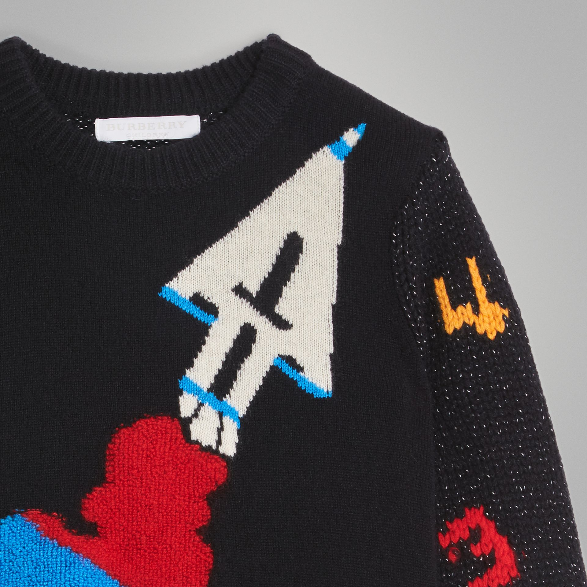 Rocket Detail Intarsia Cashmere Blend Sweater in Black | Burberry Australia - gallery image 4