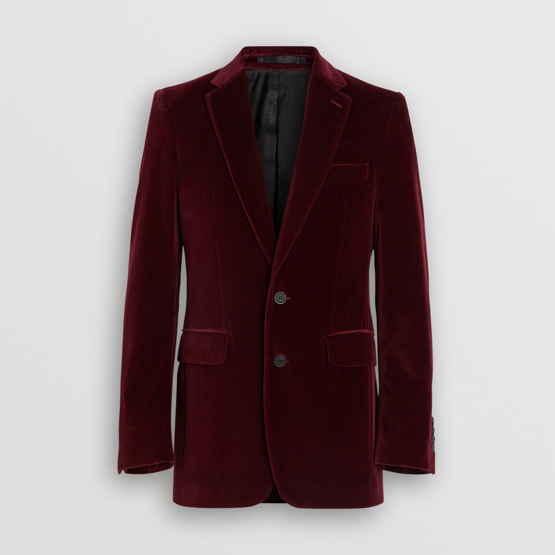 Classic Fit Velvet Tailored Jacket in Burgundy - Men | Burberry - gallery image 3
