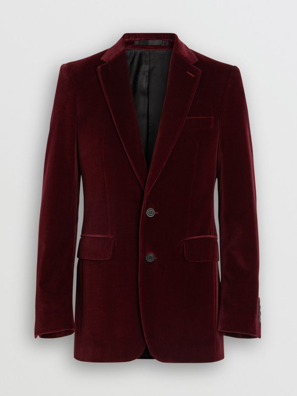 Classic Fit Velvet Tailored Jacket in Burgundy - Men | Burberry - cell image 3