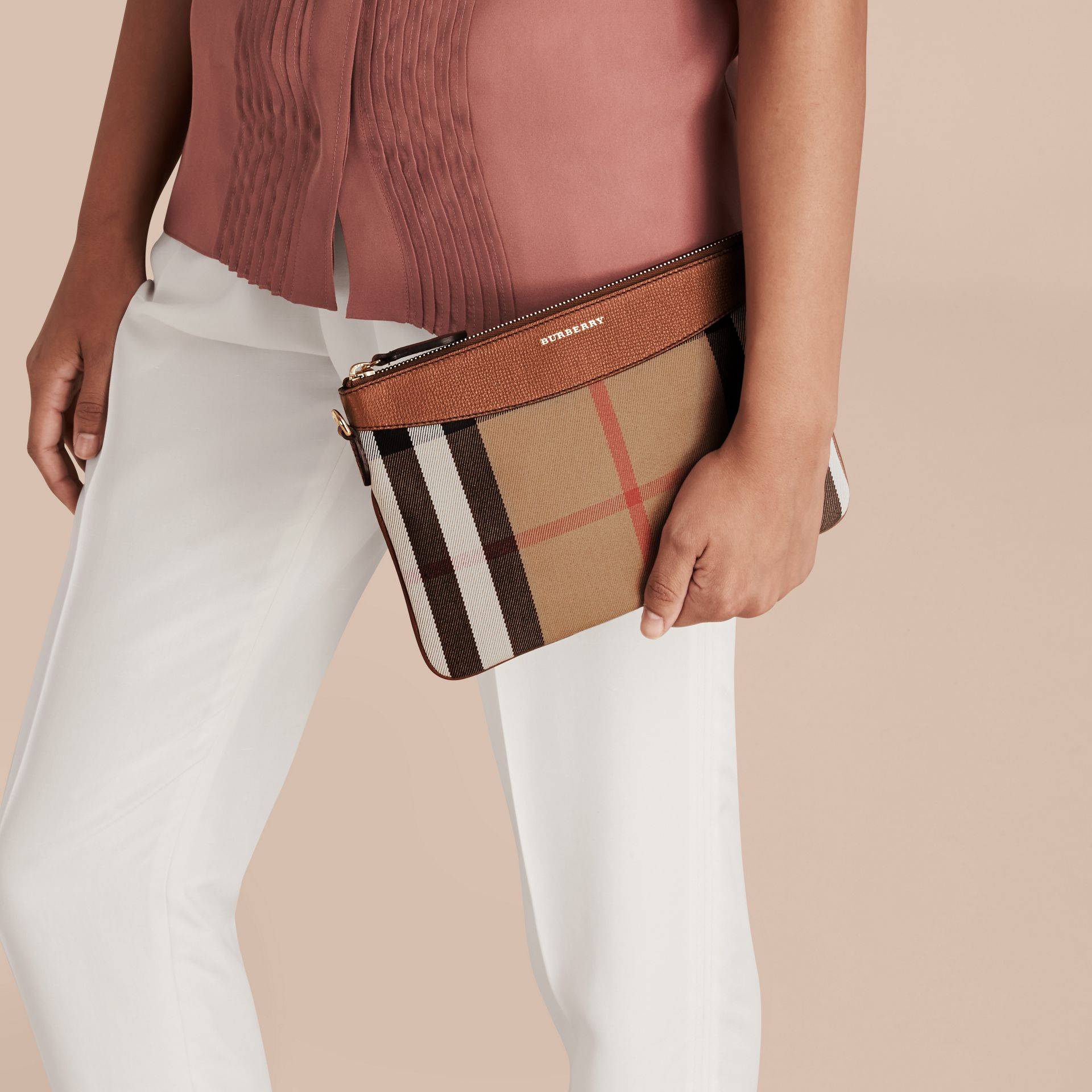 House Check and Leather Clutch Bag in Tan - gallery image 6