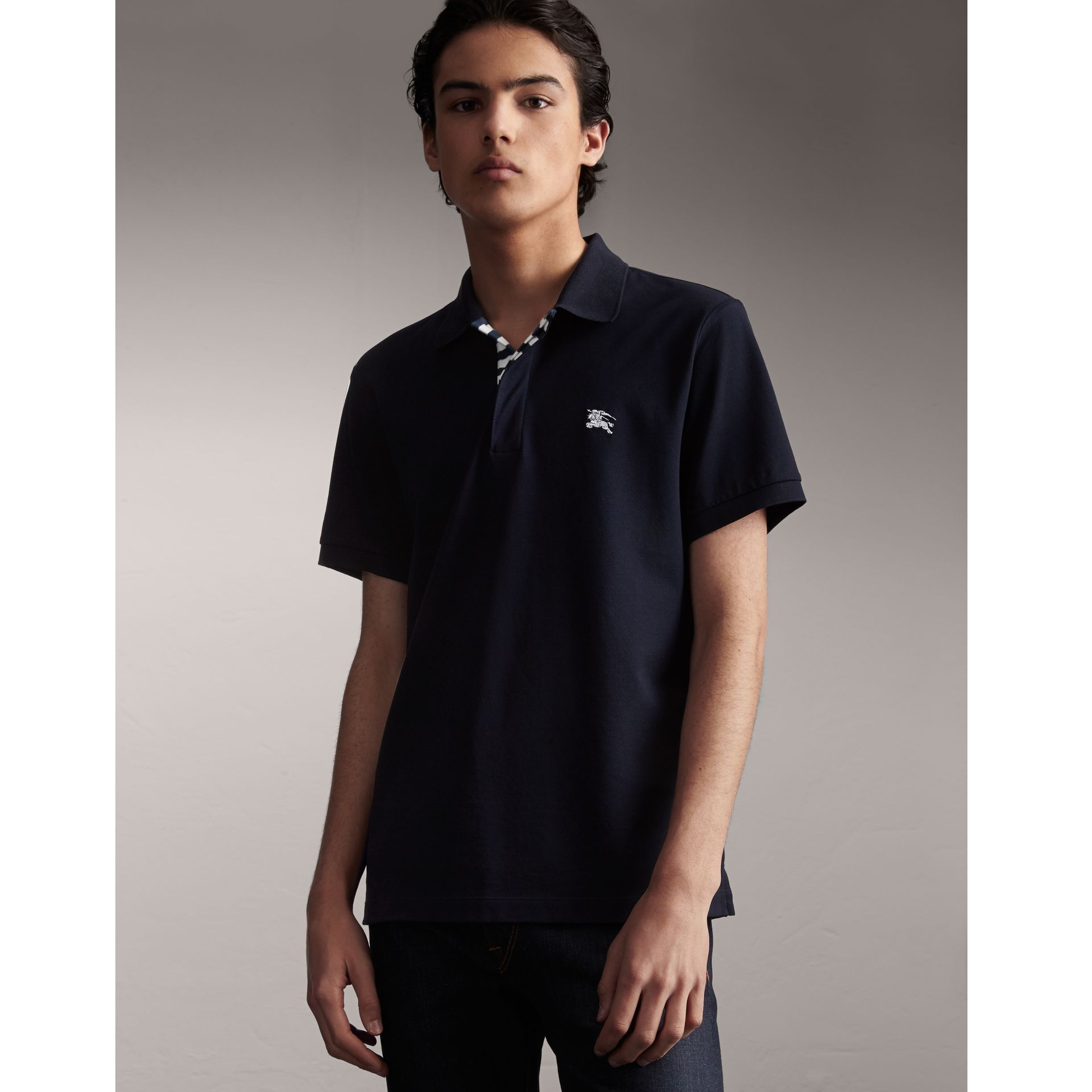 Striped Placket Cotton Piqué Polo Shirt in Navy - Men | Burberry Canada - gallery image 1
