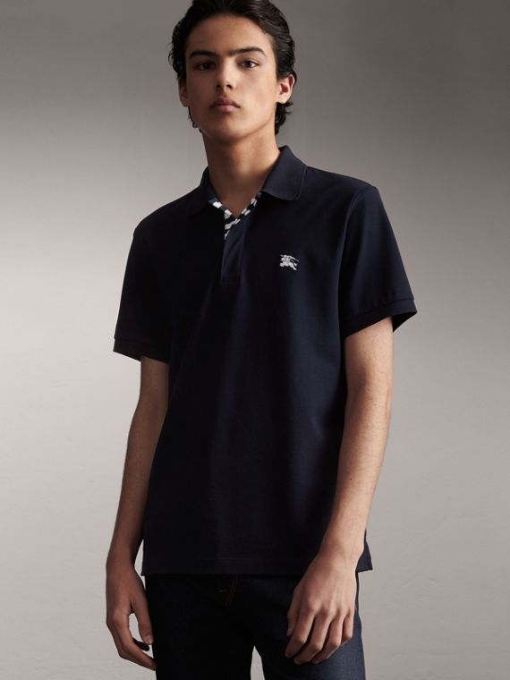 Striped Placket Cotton Piqué Polo Shirt in Navy
