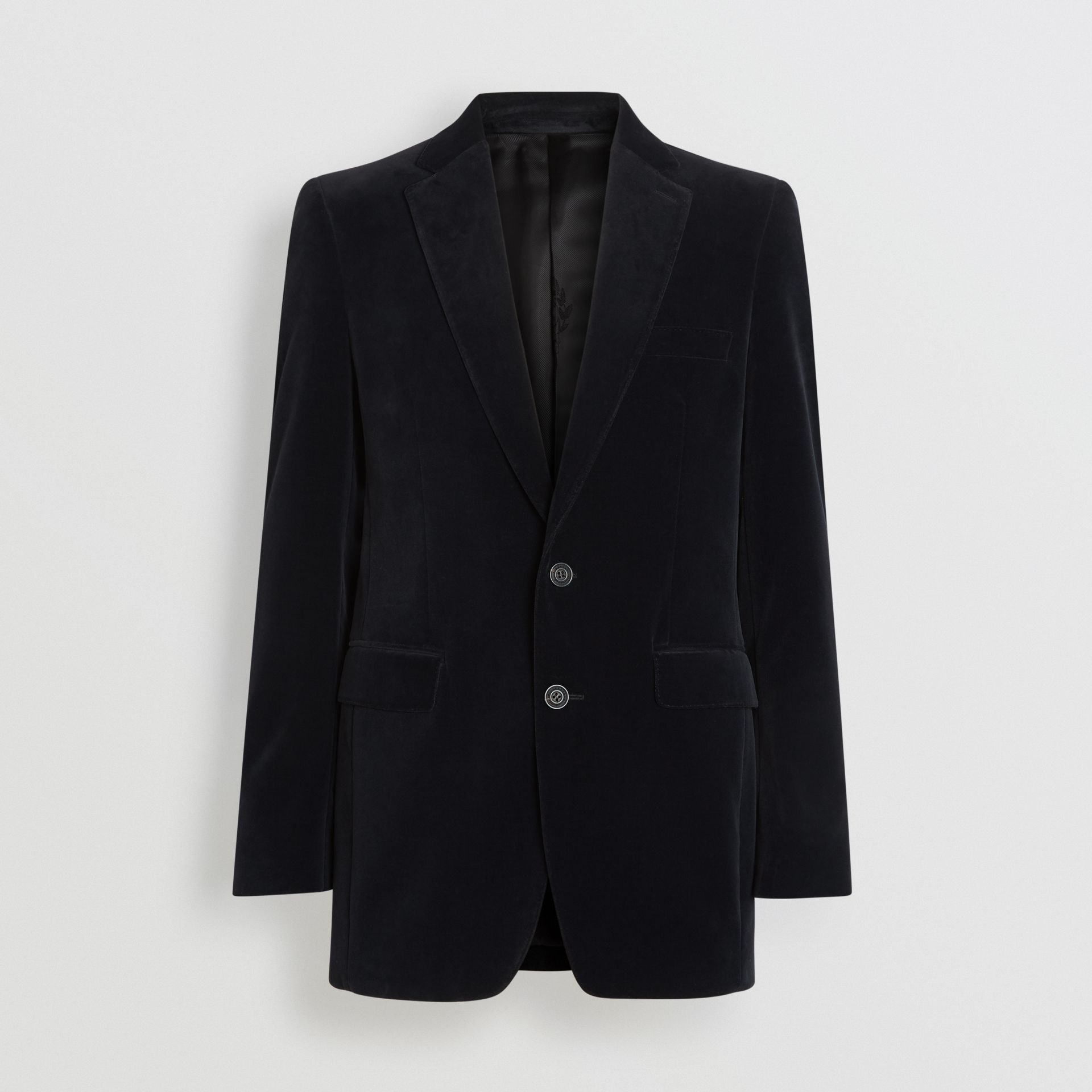 Classic Fit Velvet Tailored Jacket in Black - Men | Burberry United Kingdom - gallery image 3