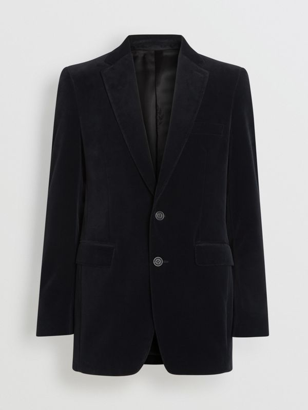 Classic Fit Velvet Tailored Jacket in Black - Men | Burberry United Kingdom - cell image 3