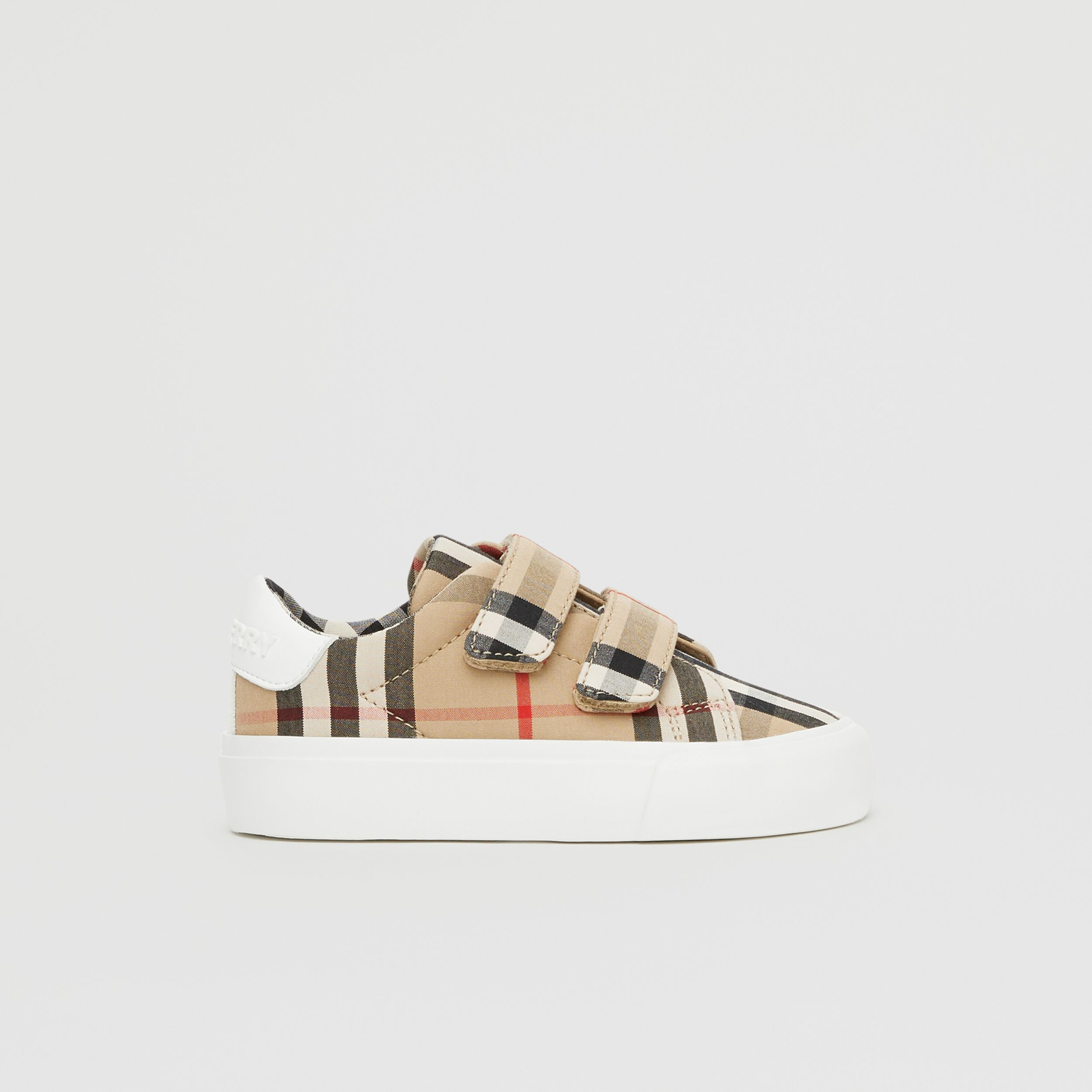 Vintage Check Cotton Sneakers in Archive Beige - Children | Burberry - 4