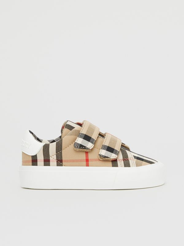 Vintage Check Cotton Sneakers in Archive Beige - Children | Burberry - cell image 3