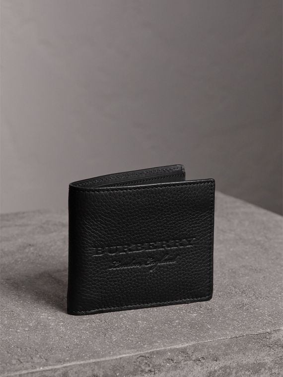 Embossed Leather Bifold Wallet in Black
