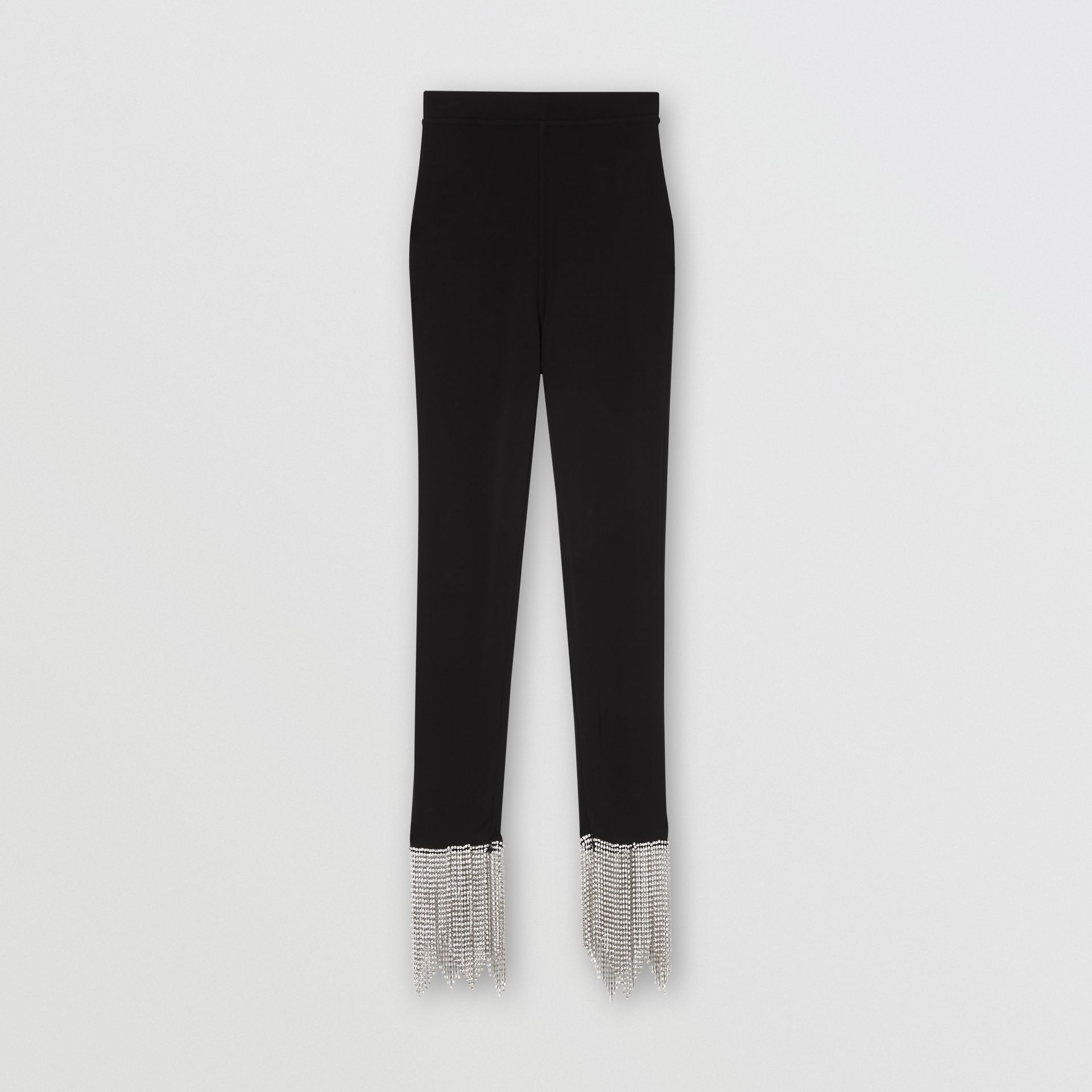 Crystal Fringe Detail Stretch Jersey Leggings in Black - Women | Burberry - gallery image 3