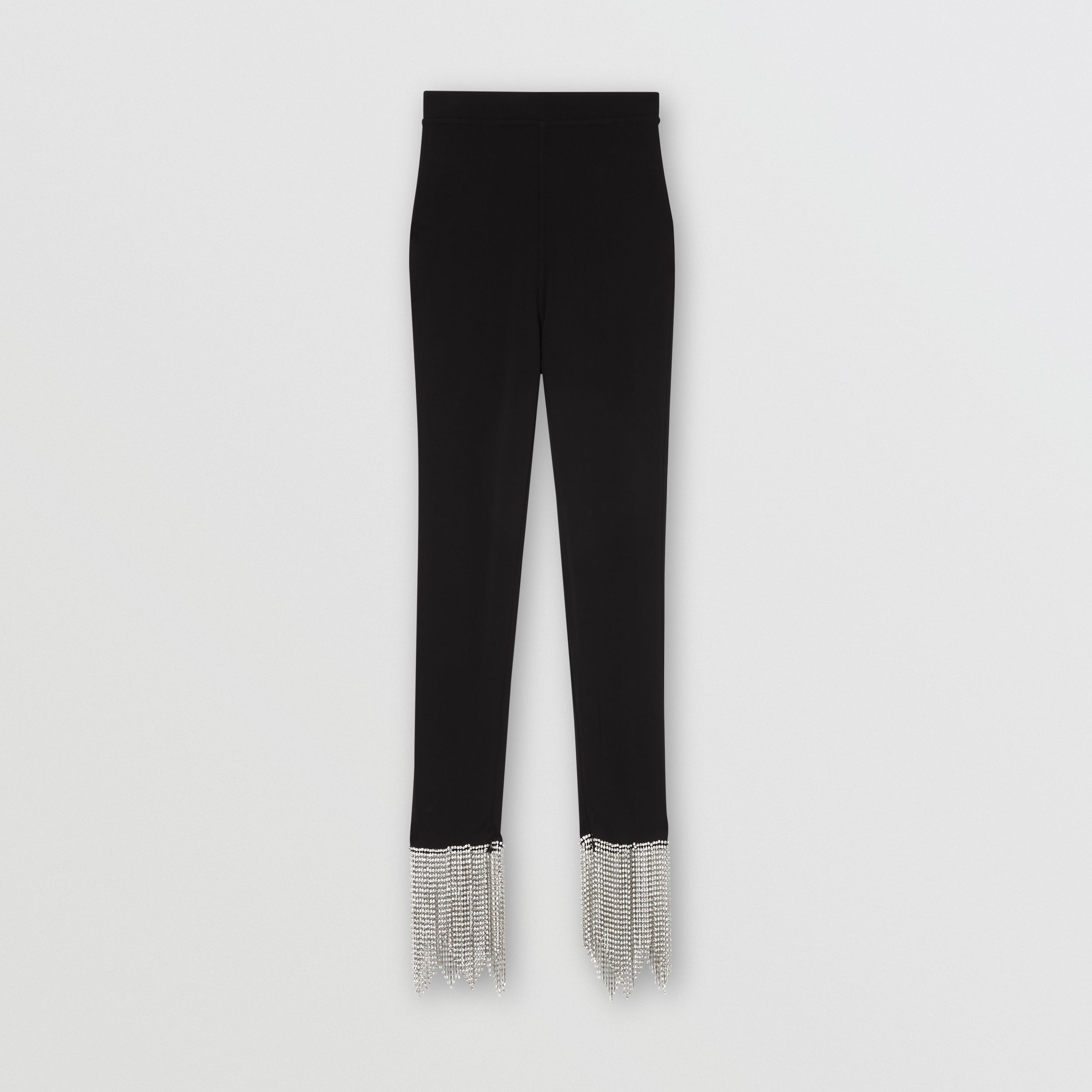 Crystal Fringe Detail Stretch Jersey Leggings in Black - Women | Burberry - 4