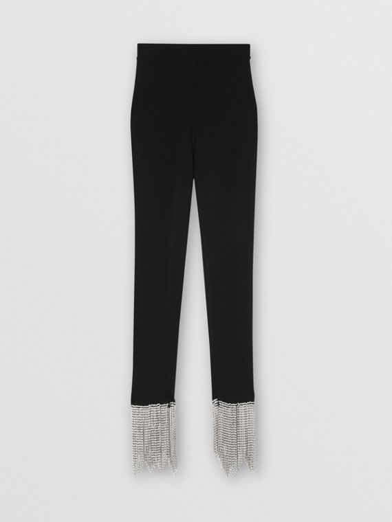 Crystal Fringe Detail Stretch Jersey Leggings in Black