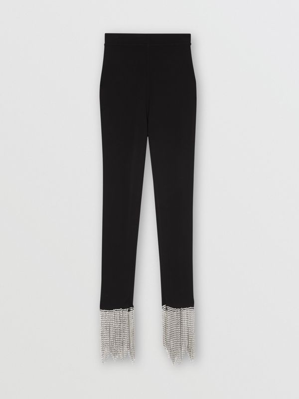 Crystal Fringe Detail Stretch Jersey Leggings in Black - Women | Burberry - cell image 3