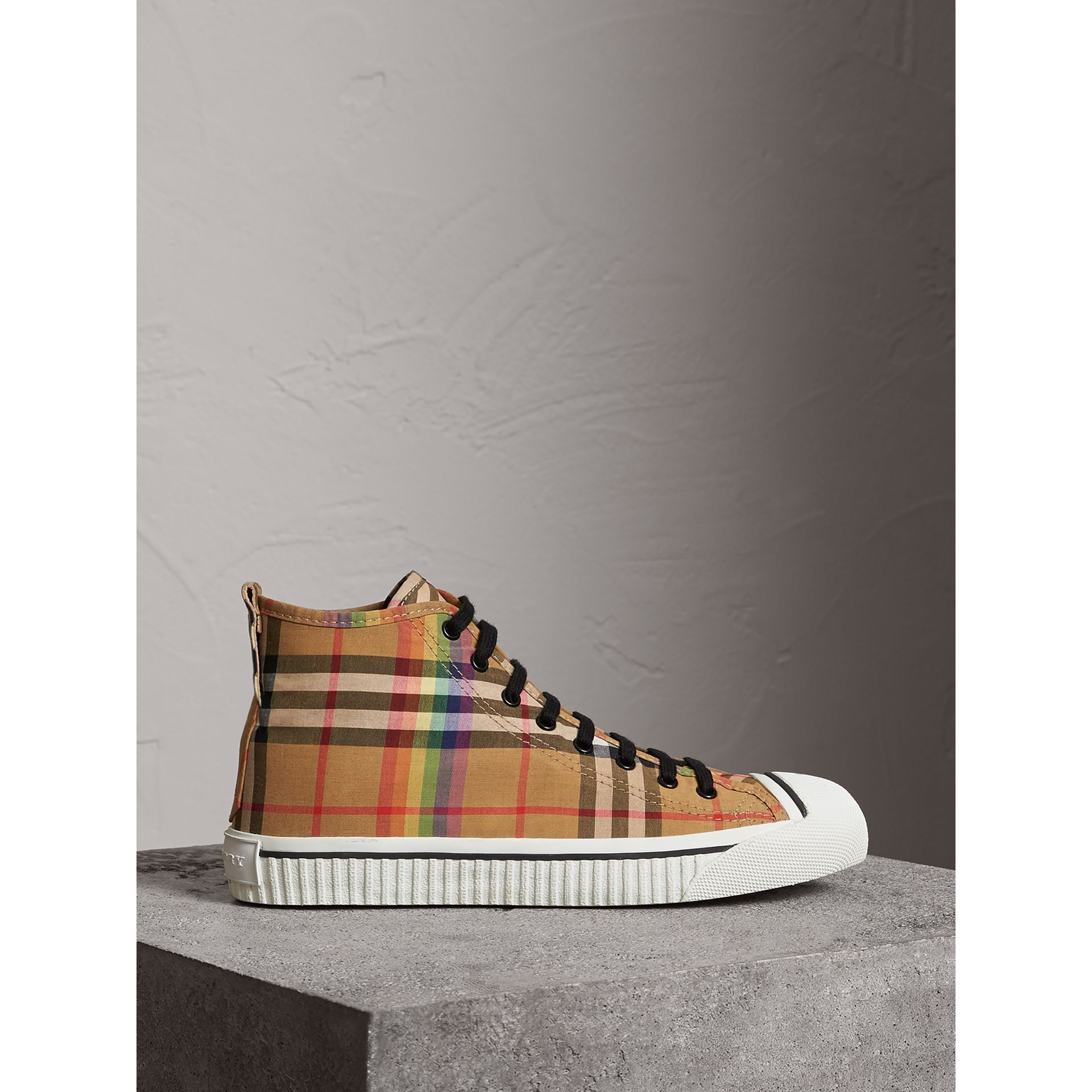 Rainbow Vintage Check High-top Sneakers in Antique Yellow - Men | Burberry - gallery image 4
