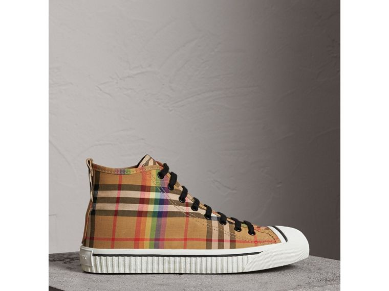 Rainbow Vintage Check High-top Sneakers in Antique Yellow - Men | Burberry - cell image 4