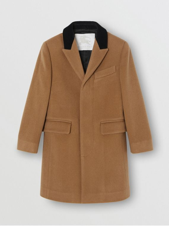 Velvet Collar Cashmere Tailored Coat in Dark Sand