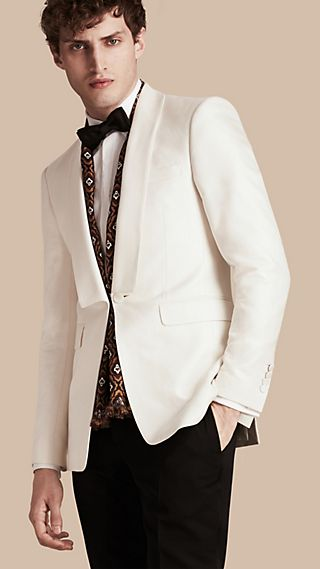 Slim Fit Cotton Silk Half-canvas Tuxedo Jacket
