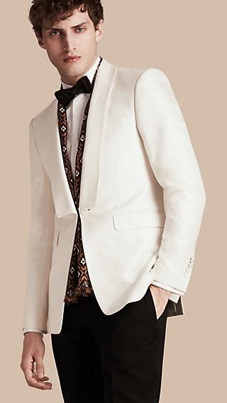 Veste de smoking slim semi-entoilée en coton et soie