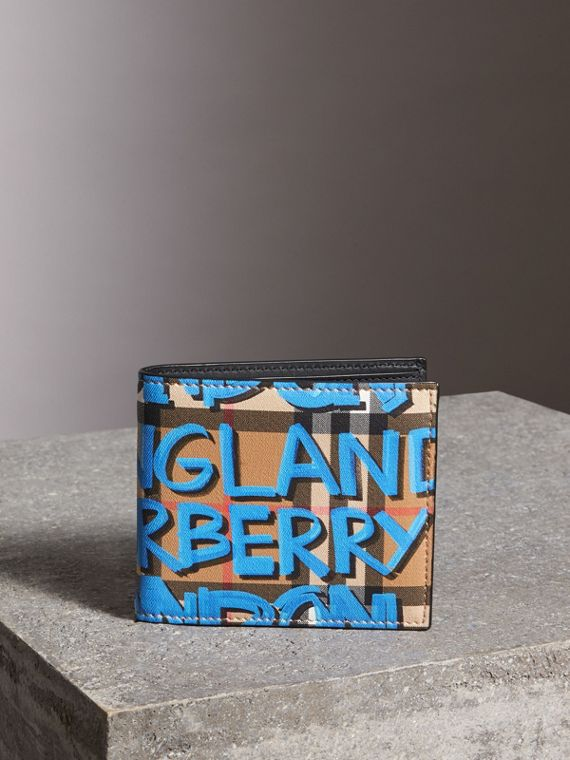 Portefeuille à rabat multidevise à motif Vintage check et imprimé graffiti (Bleu Toile/jaune Antique)