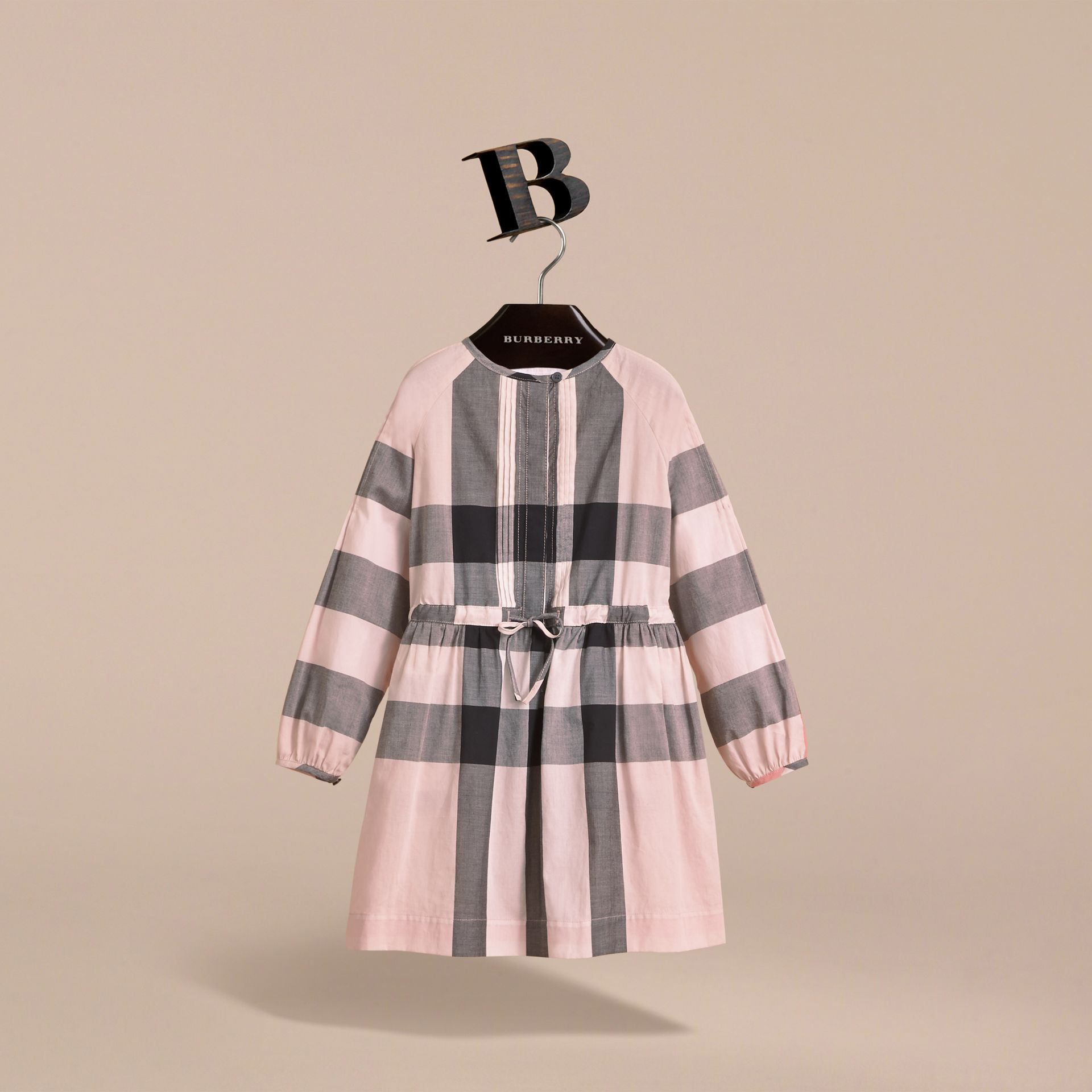 Collarless Check Drawcord Cotton Voile Dress in Vintage Pink - Girl | Burberry - gallery image 3