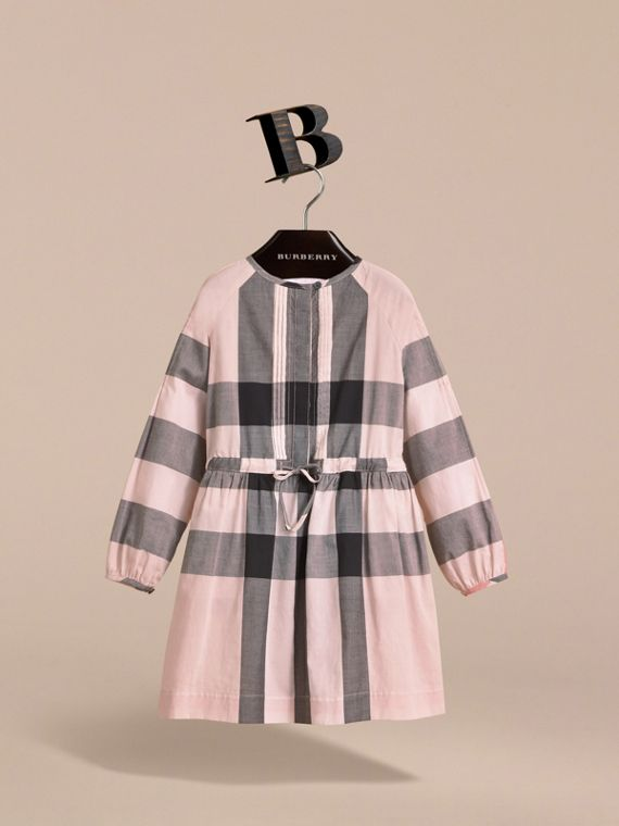Collarless Check Drawcord Cotton Voile Dress in Vintage Pink - Girl | Burberry - cell image 2
