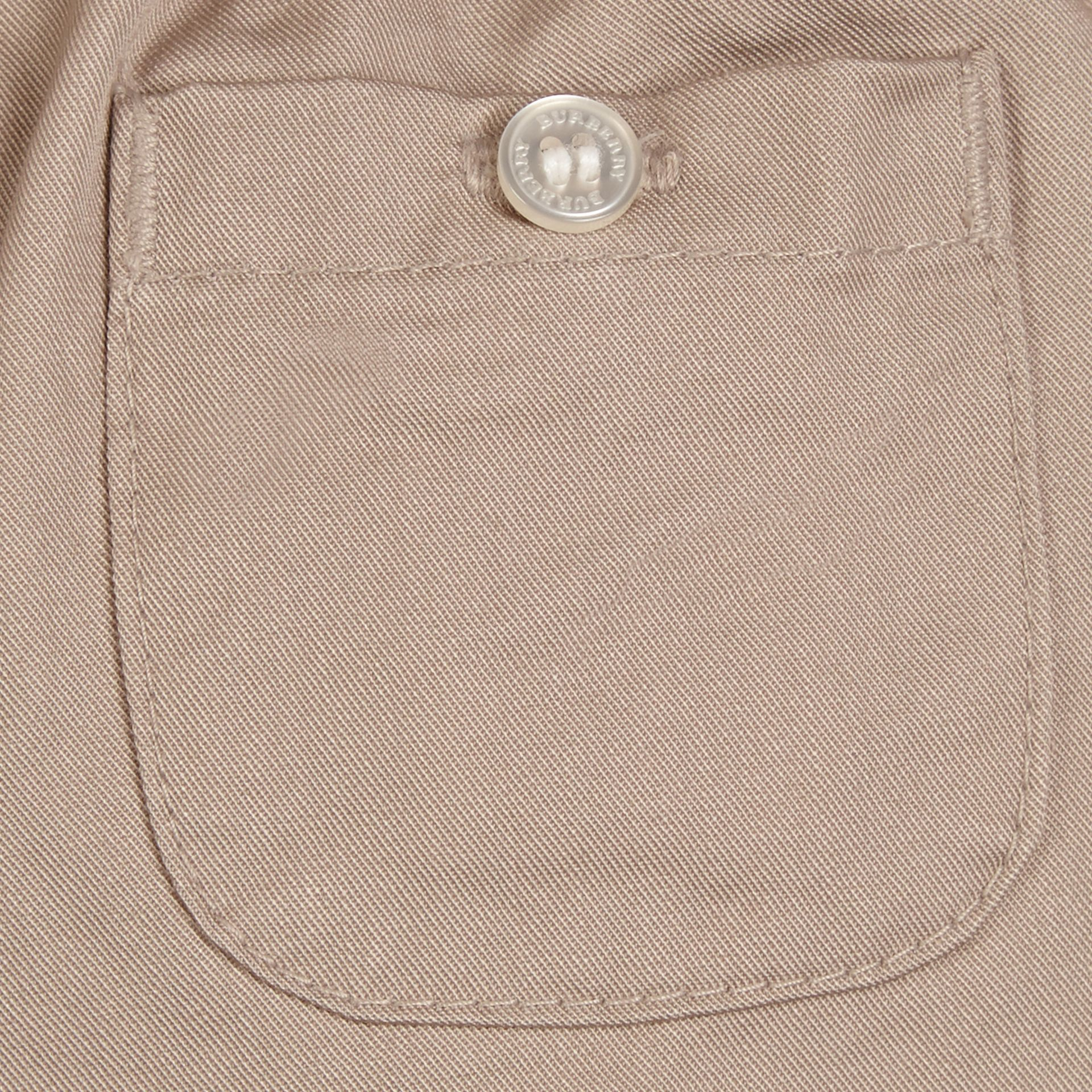 Check Turn-Up Cotton Trousers Taupe - gallery image 2