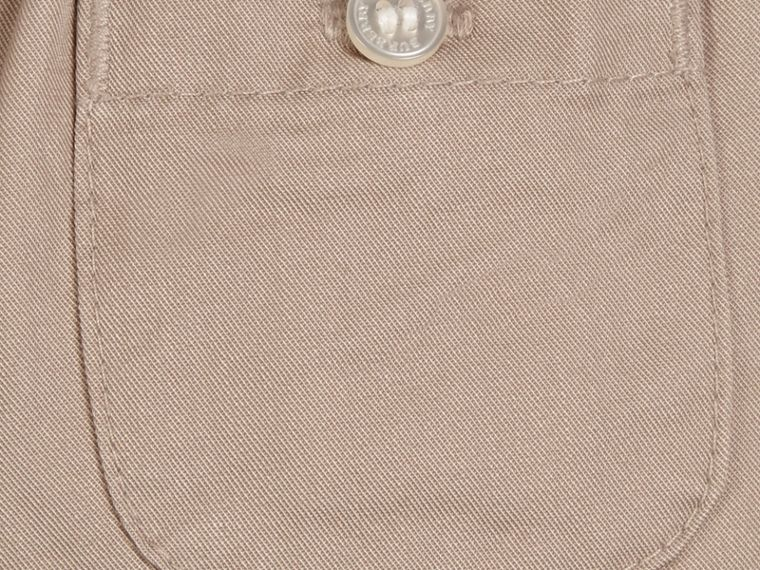 Check Turn-Up Cotton Trousers in Taupe | Burberry - cell image 1