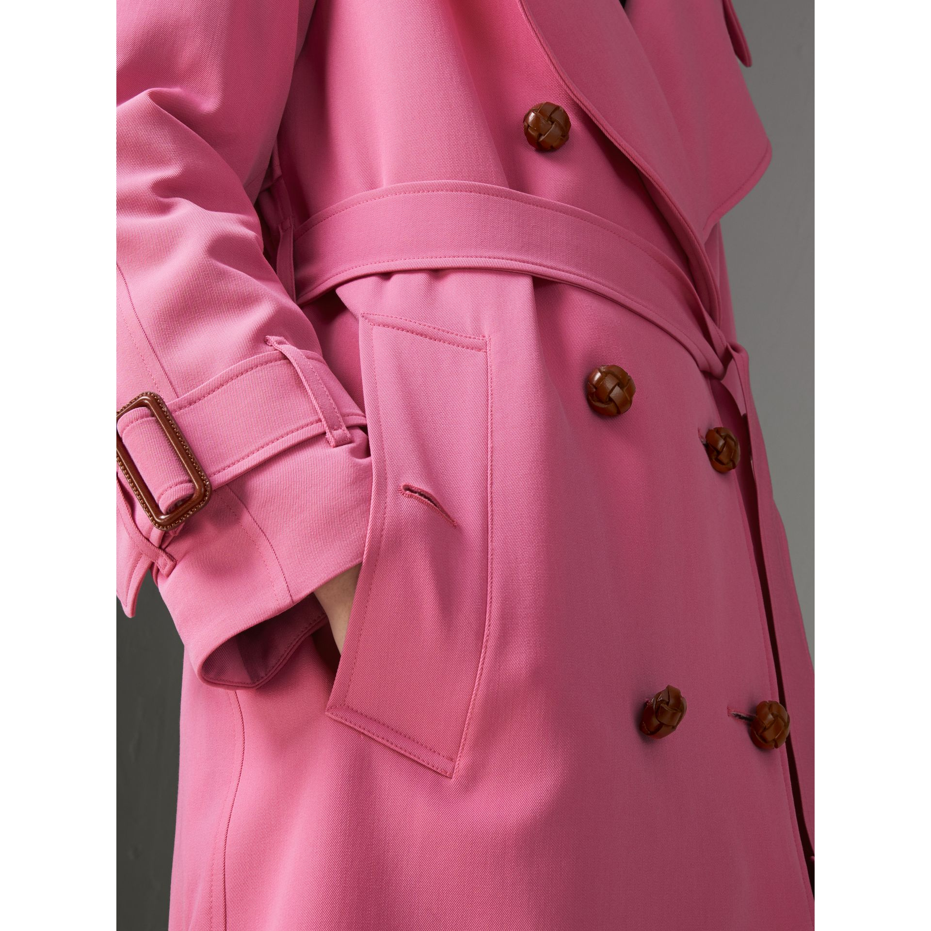 Oversized Lapel Wool Gabardine Trench Coat in Bright Pink - Women | Burberry - gallery image 5