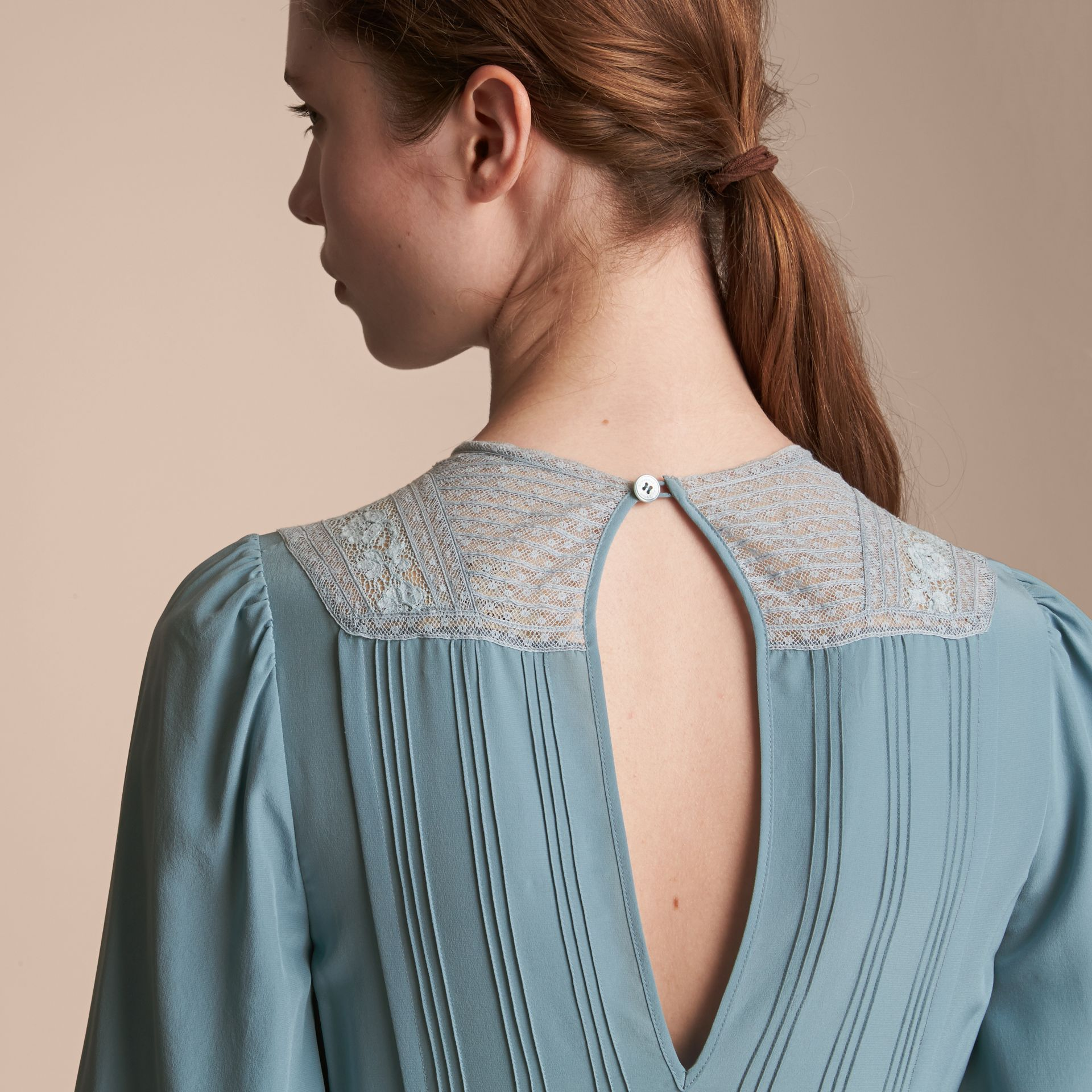Lace and Pintuck Detail Silk Dress in Bright Mineral Blue - Women | Burberry - gallery image 5