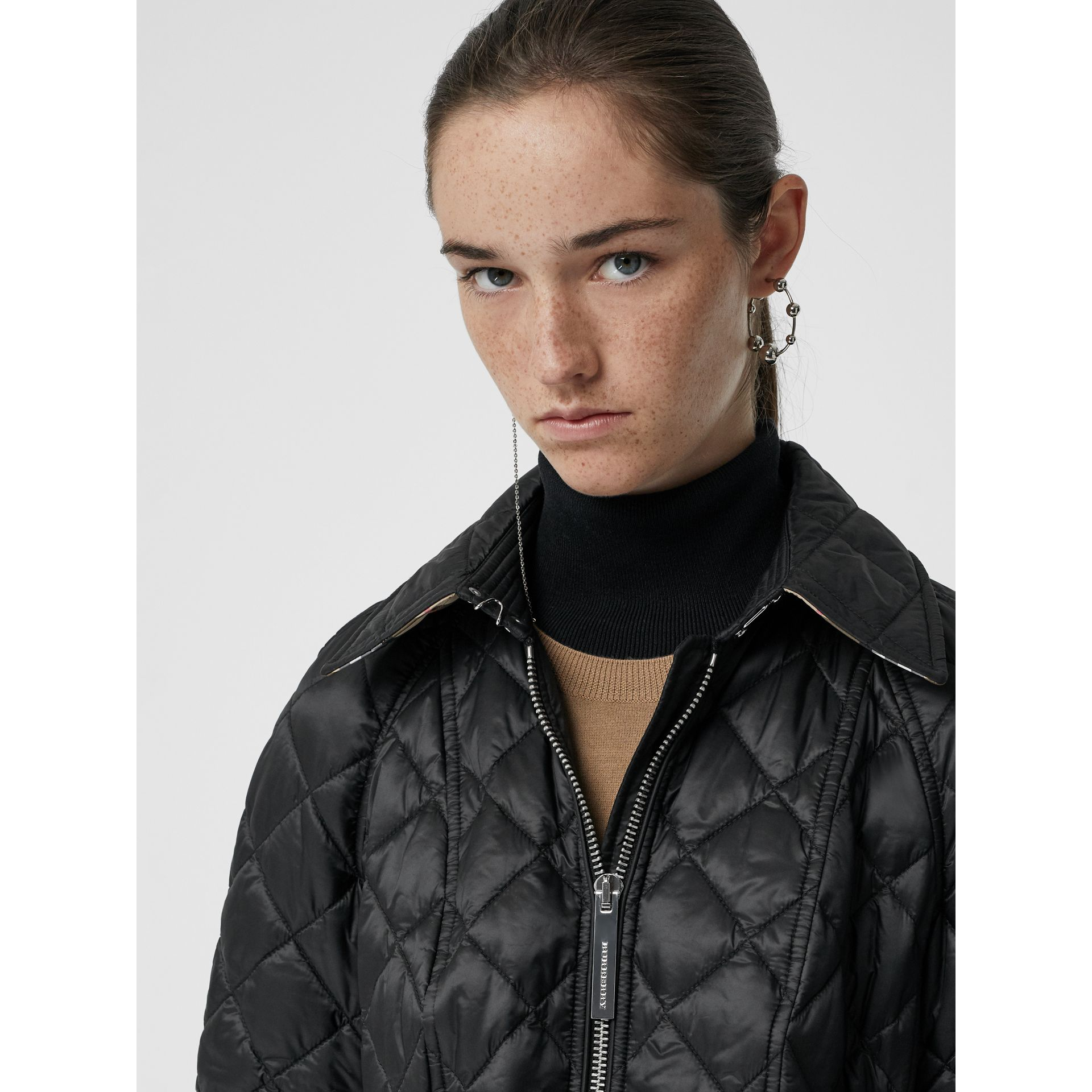 Detachable Hood Lightweight Diamond Quilted Coat in Black - Women | Burberry - gallery image 7