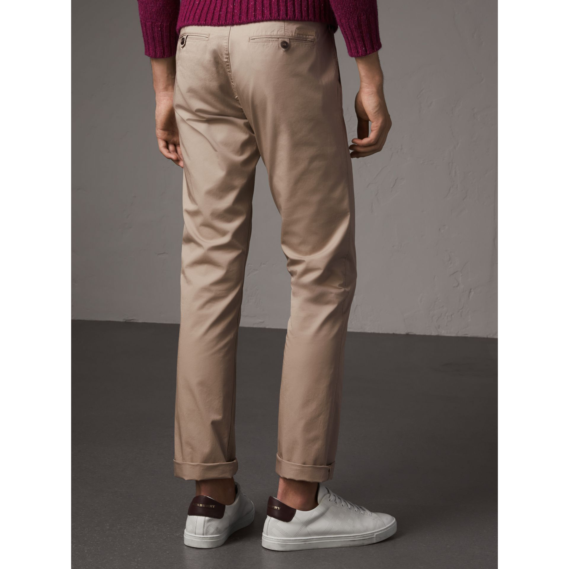 Straight Fit Cotton Chinos in Taupe - Men | Burberry Canada - gallery image 3
