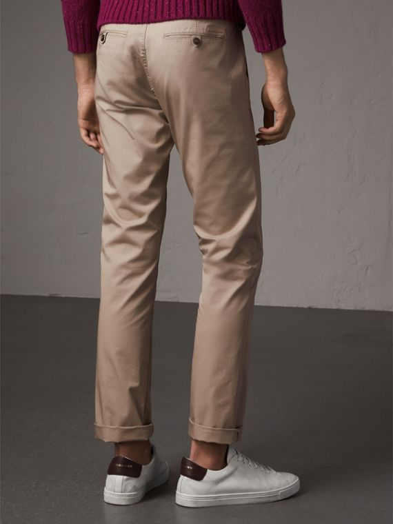 Straight Fit Cotton Chinos in Taupe - Men | Burberry Canada - cell image 2