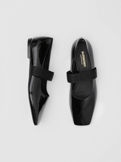 Burberry Flats Logo Detail Patent Leather Flats