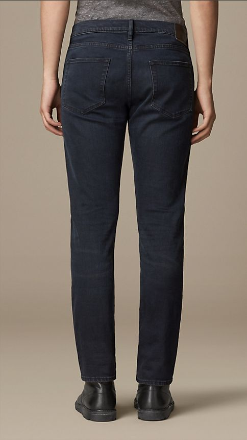 Deep indigo Slim Fit Washed Indigo Jeans - Image 2