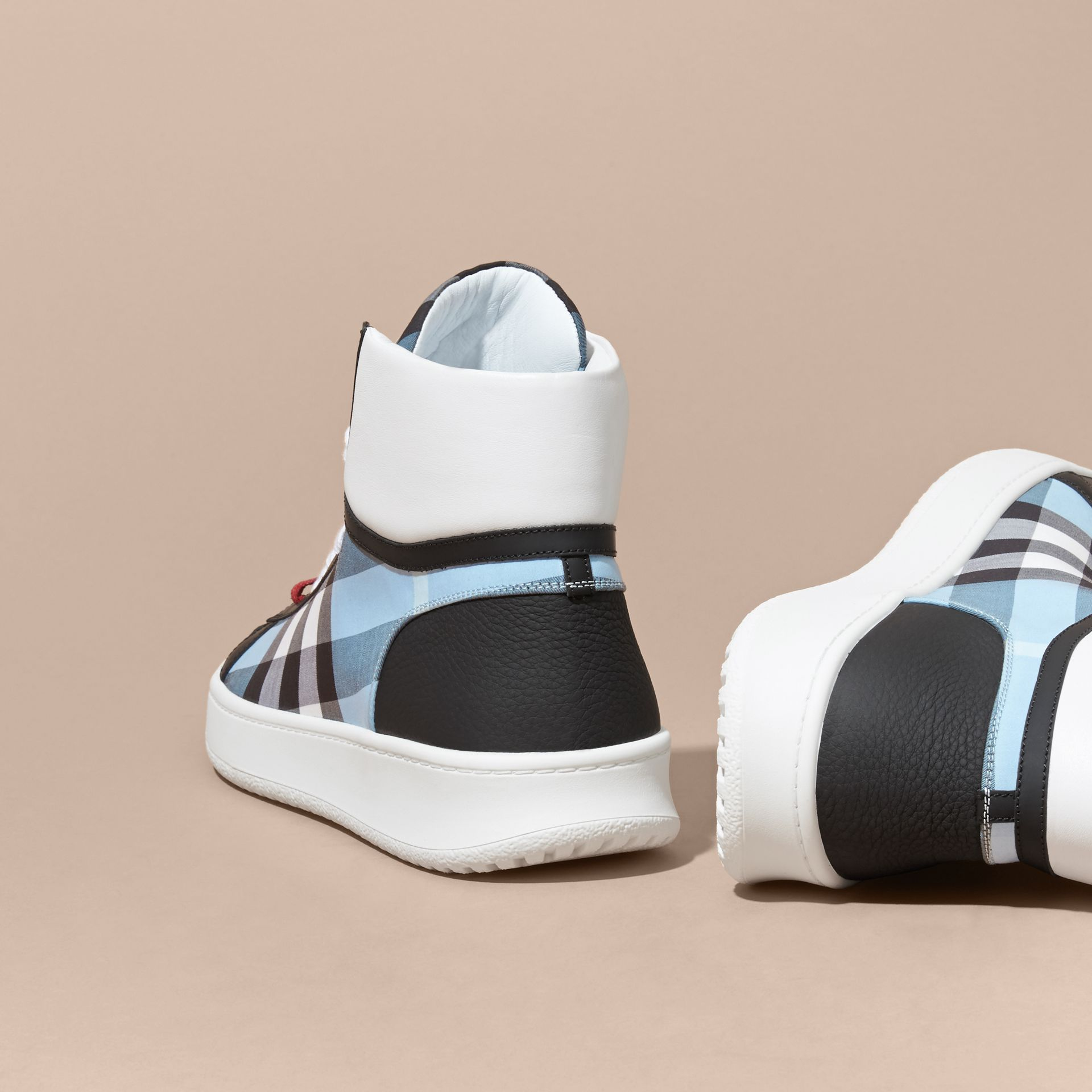 Leather and Check High-top Trainers in Light Blue - gallery image 4