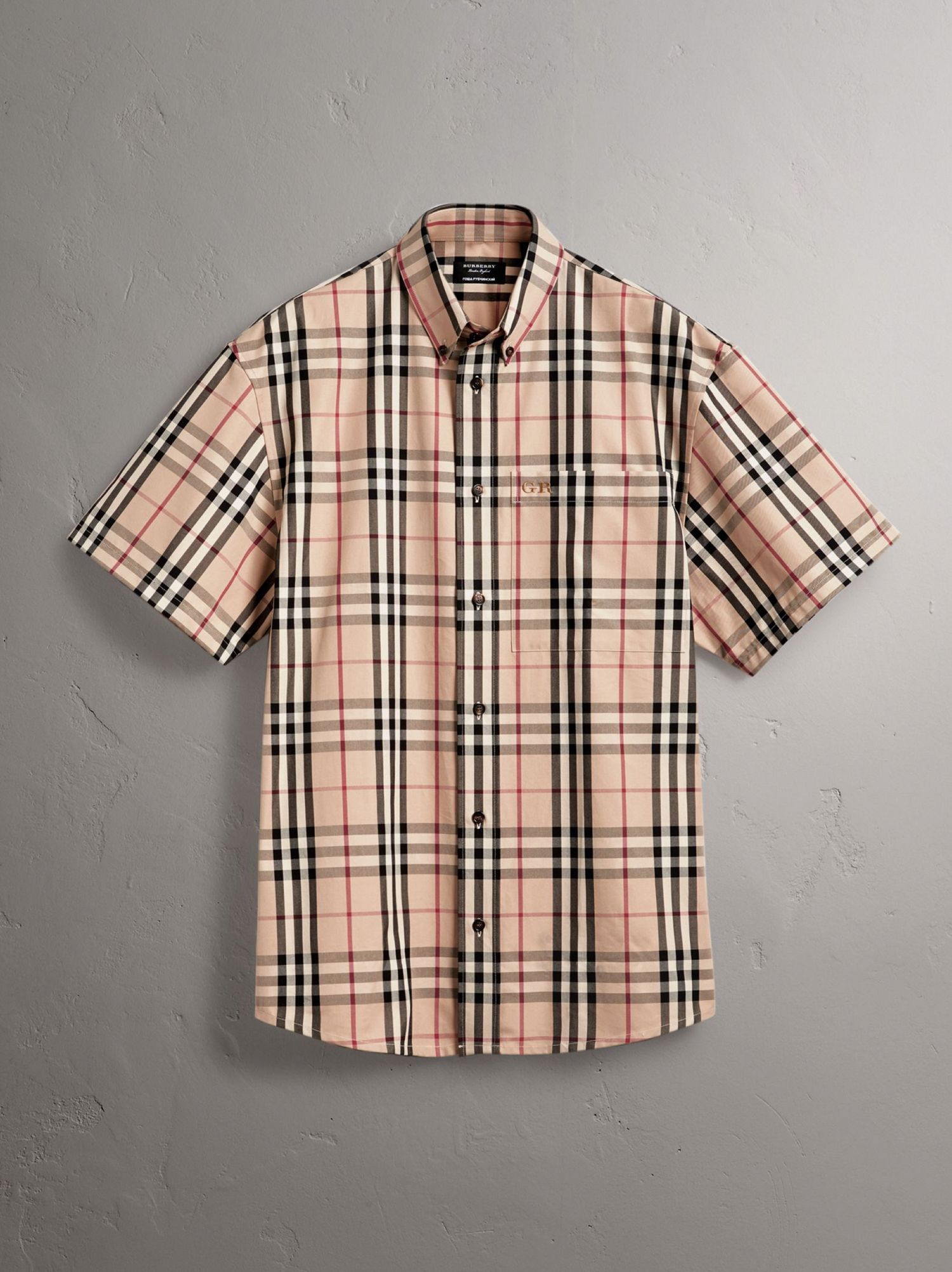 Gosha x Burberry Short-sleeve Check Shirt in Honey