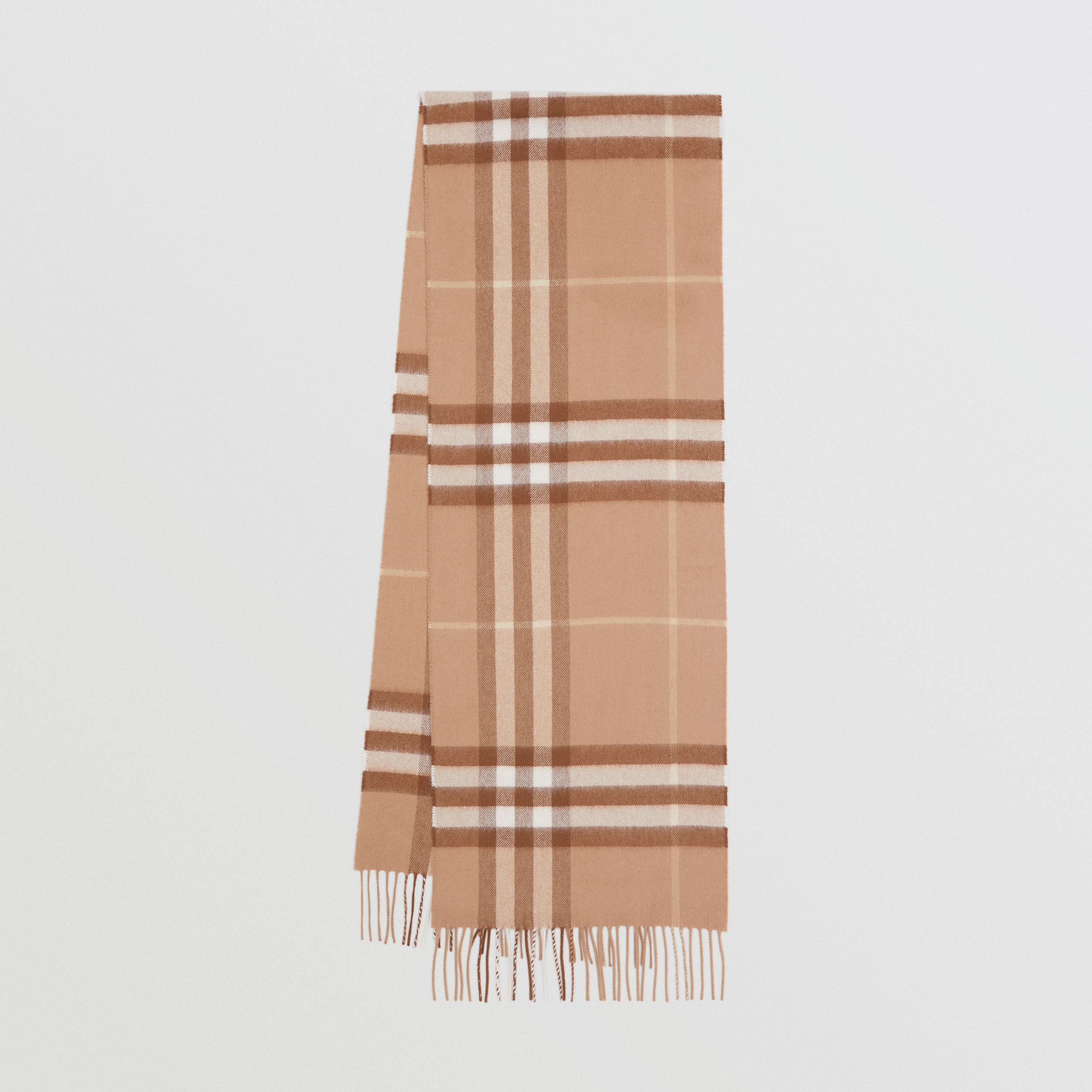 The Classic Check Cashmere Scarf in Mid Camel | Burberry United Kingdom - 1