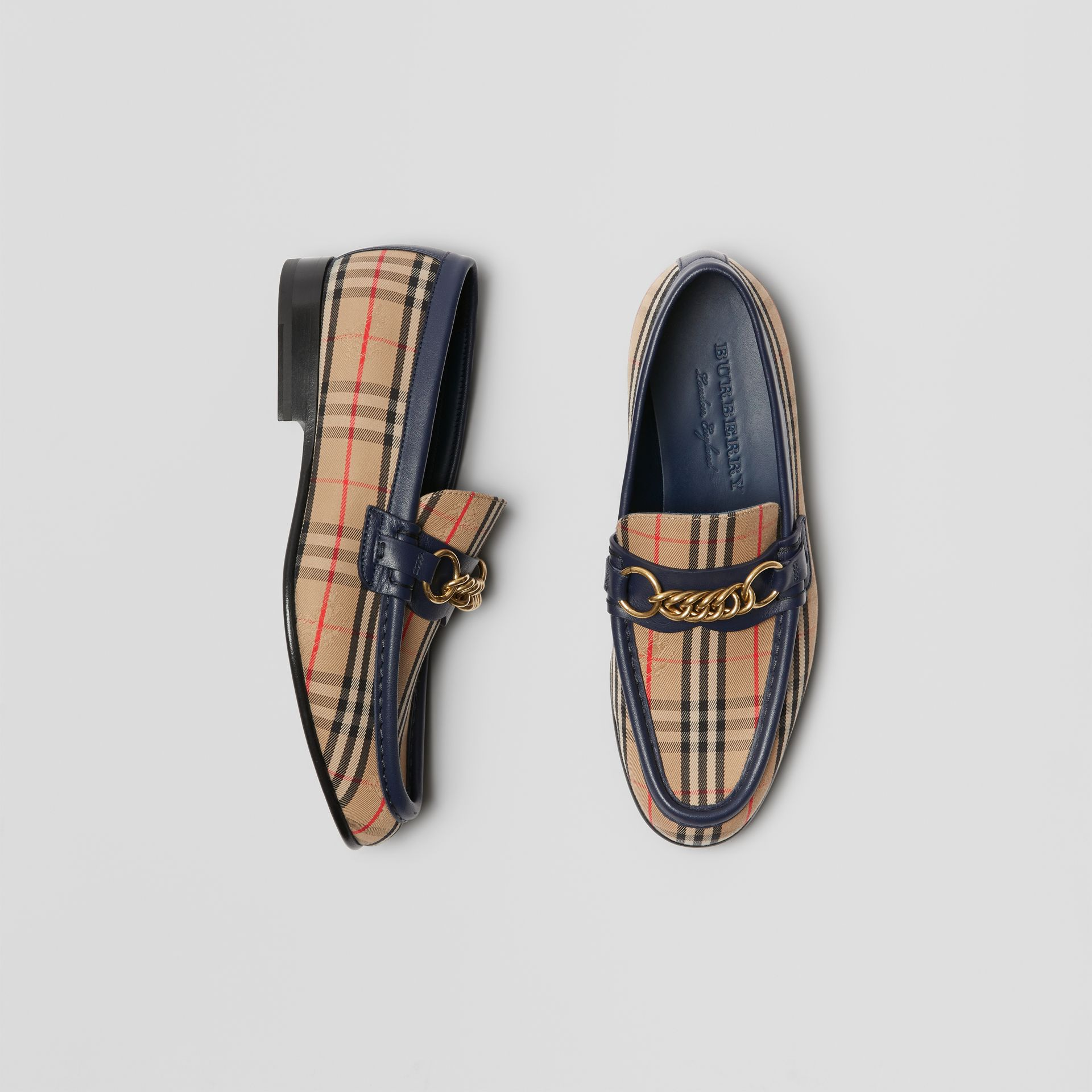 The 1983 Check Link Loafer in Ink Blue - Women | Burberry Australia - gallery image 0