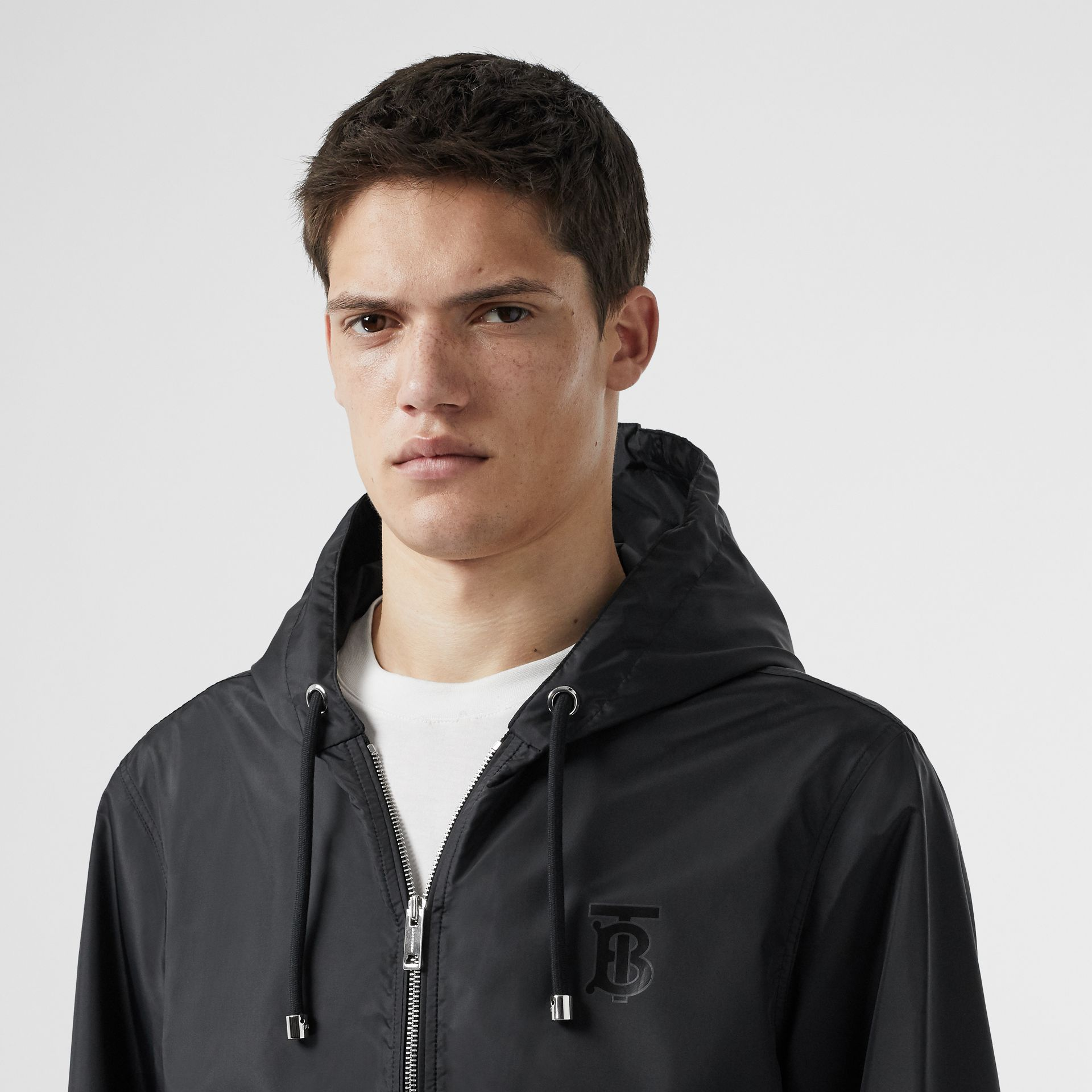 Monogram Motif Lightweight Hooded Jacket in Black - Men | Burberry Canada - gallery image 1