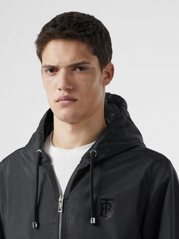 Monogram Motif Lightweight Hooded Jacket in Black