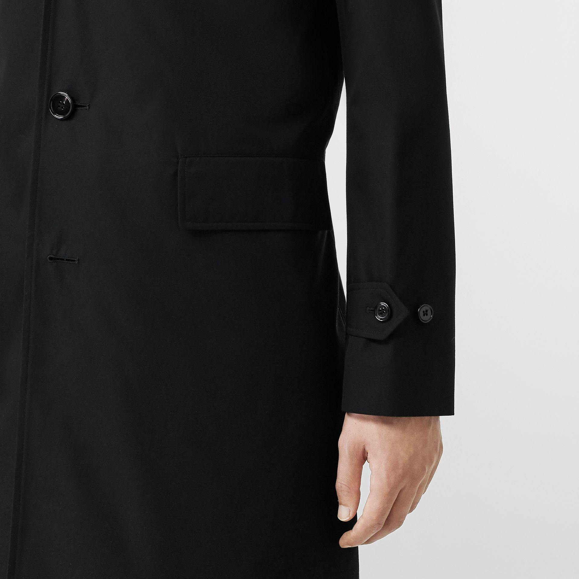 Cotton Gabardine Car Coat in Black - Men | Burberry - gallery image 4